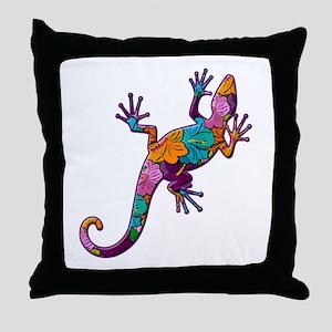 Hibiscus Lizard Throw Pillow