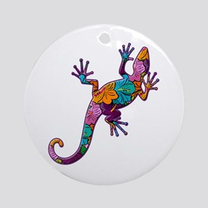 Hibiscus Lizard Ornament (Round)