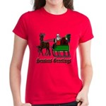 Christmas Santa Sleigh Women's Dark T-Shirt