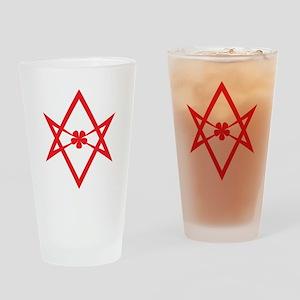 Unicursal hexagram (Red) Drinking Glass