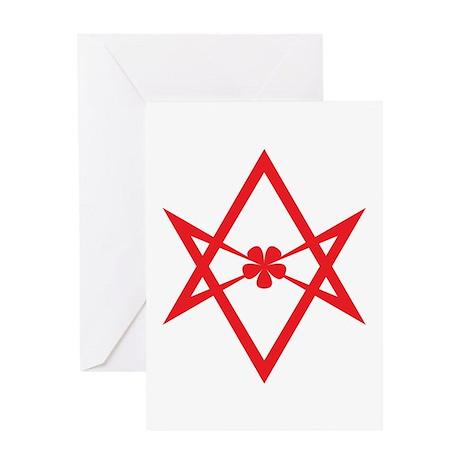 Unicursal hexagram (Red) Greeting Card