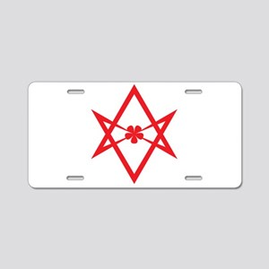 Unicursal hexagram (Red) Aluminum License Plate