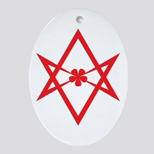 Unicursal hexagram (Red) Ornament (Oval)