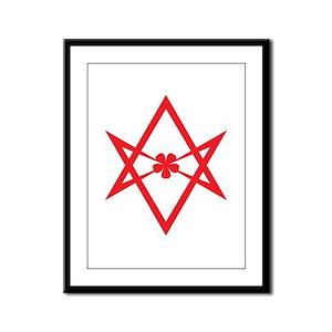 Unicursal hexagram (Red) Framed Panel Print