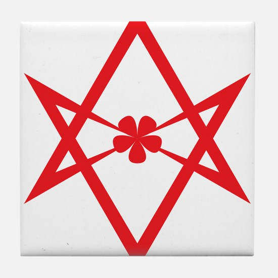 Unicursal hexagram (Red) Tile Coaster