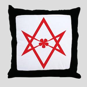 Unicursal hexagram (Red) Throw Pillow