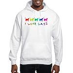 I Love Cats Ash Grey Hooded Sweatshirt