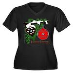 Christmas Red Ball Women's Plus Size V-Neck Dark T