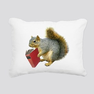 Squirrel with Book Rectangular Canvas Pillow