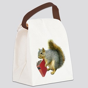 Squirrel with Book Canvas Lunch Bag