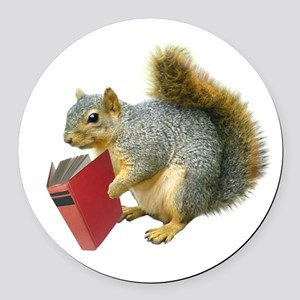 Squirrel with Book Round Car Magnet