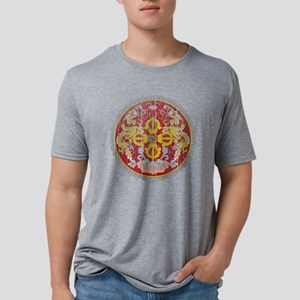 Bhutan Coat of Arms wood.pn Mens Tri-blend T-Shirt
