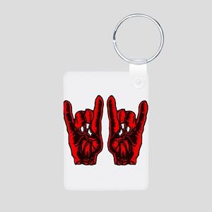 Metal Hands (Malocchio) Red Aluminum Photo Keychai