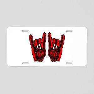 Metal Hands (Malocchio) Red Aluminum License Plate