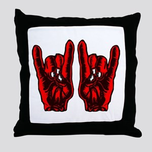Metal Hands (Malocchio) Red Throw Pillow