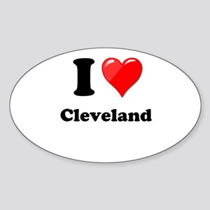 I Heart Love Cleveland Sticker (Oval)