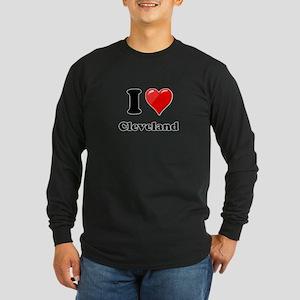 I Heart Love Cleveland Long Sleeve Dark T-Shir