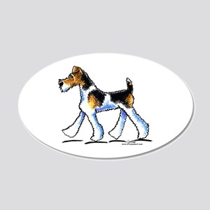 Wire Fox Terrier Trot 20x12 Oval Wall Decal