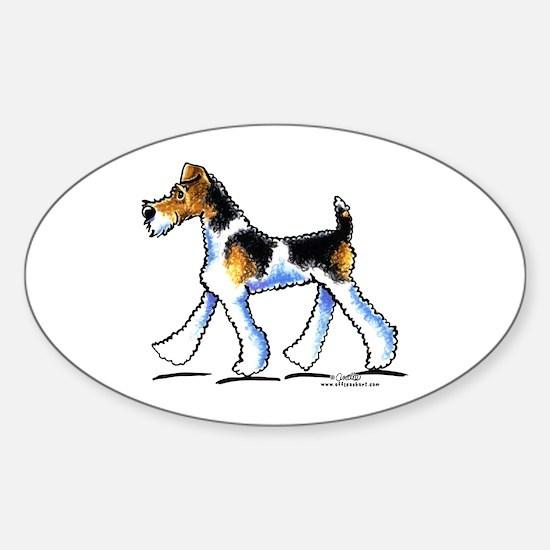 Wire Fox Terrier Trot Sticker (Oval)