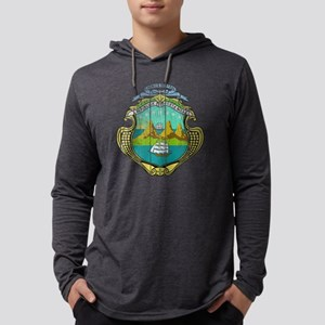 Costa Rica Coat of Arms wood Mens Hooded Shirt