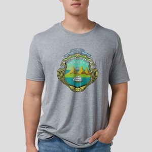 Costa Rica Coat of Arms woo Mens Tri-blend T-Shirt