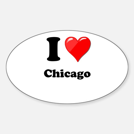 I Heart Love Chicago.png Sticker (Oval)