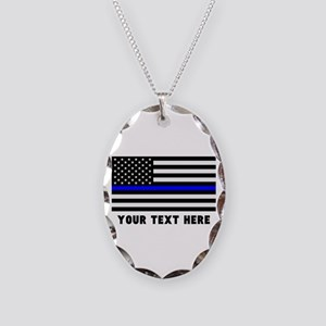 Thin Blue Line Flag Necklace Oval Charm