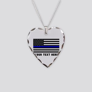 Thin Blue Line Flag Necklace Heart Charm