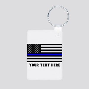 Thin Blue Line Flag Aluminum Photo Keychain