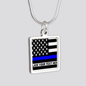Thin Blue Line Flag Silver Square Necklace