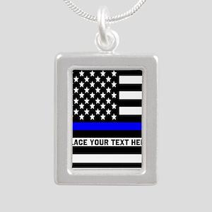 Thin Blue Line Flag Silver Portrait Necklace