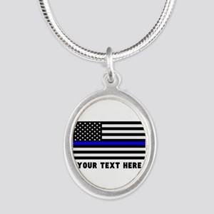 Thin Blue Line Flag Silver Oval Necklace