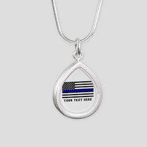 Thin Blue Line Flag Silver Teardrop Necklace