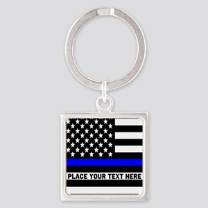 Thin Blue Line Flag Square Keychain
