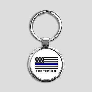 Thin Blue Line Flag Round Keychain
