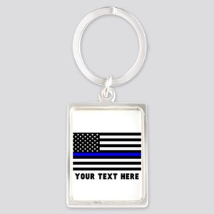Thin Blue Line Flag Portrait Keychain