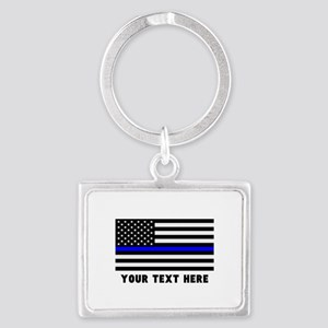 Thin Blue Line Flag Landscape Keychain