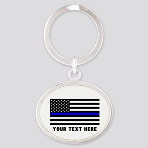 Thin Blue Line Flag Oval Keychain