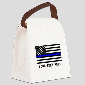 Thin Blue Line Flag Canvas Lunch Bag
