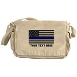 Thin blue line Canvas Messenger Bags