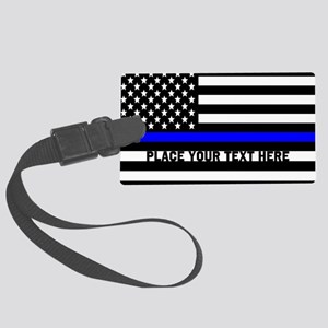 Thin Blue Line Flag Large Luggage Tag