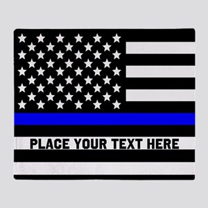 Thin Blue Line Flag Throw Blanket