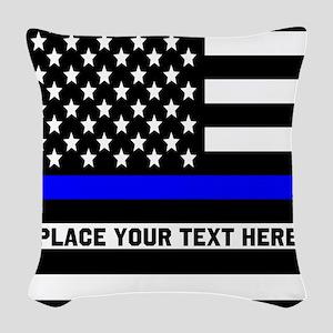 Thin Blue Line Flag Woven Throw Pillow