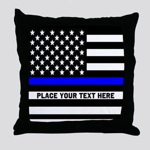 Thin Blue Line Flag Throw Pillow