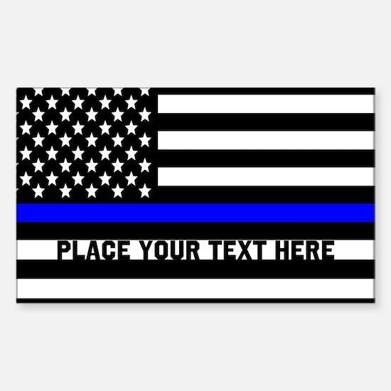 Thin Blue Line Flag Sticker (Rectangle 10 pk)