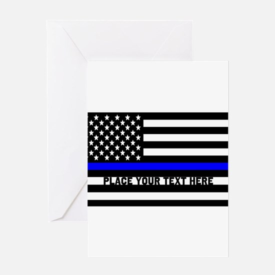 Thin Blue Line Flag Greeting Card