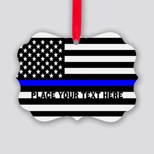 Thin Blue Line Flag Picture Ornament