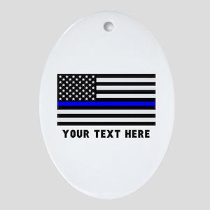 Thin Blue Line Flag Oval Ornament