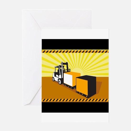 Forklift Truck Materials Handling Retro Greeting C
