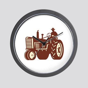 Farmer Driving Vintage Tractor Retro Wall Clock